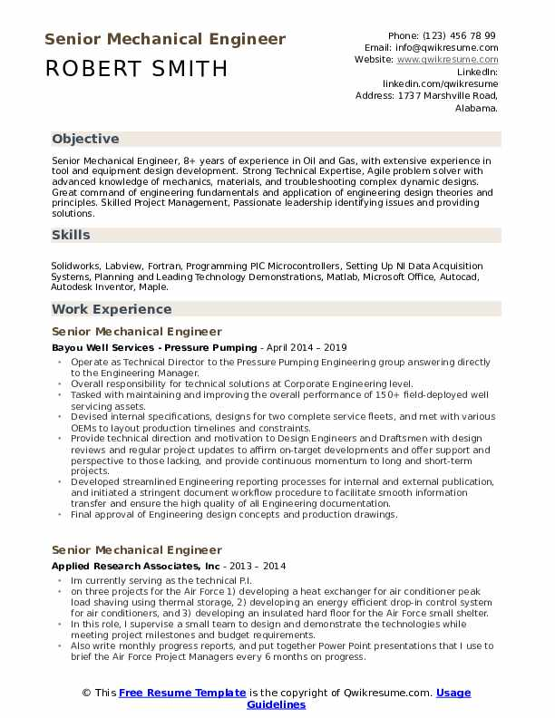 Senior Mechanical Engineer Resume Samples Qwikresume