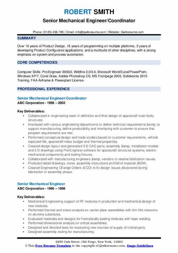 Senior Mechanical Engineer/Coordinator Resume Example