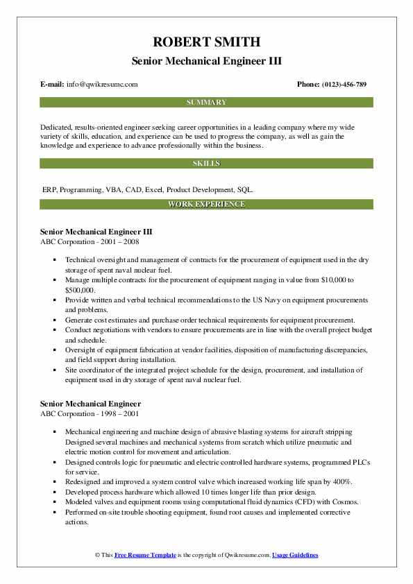 Senior Mechanical Engineer III Resume Sample