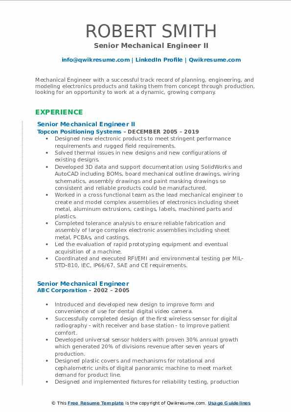 Senior Mechanical Engineer II Resume Sample