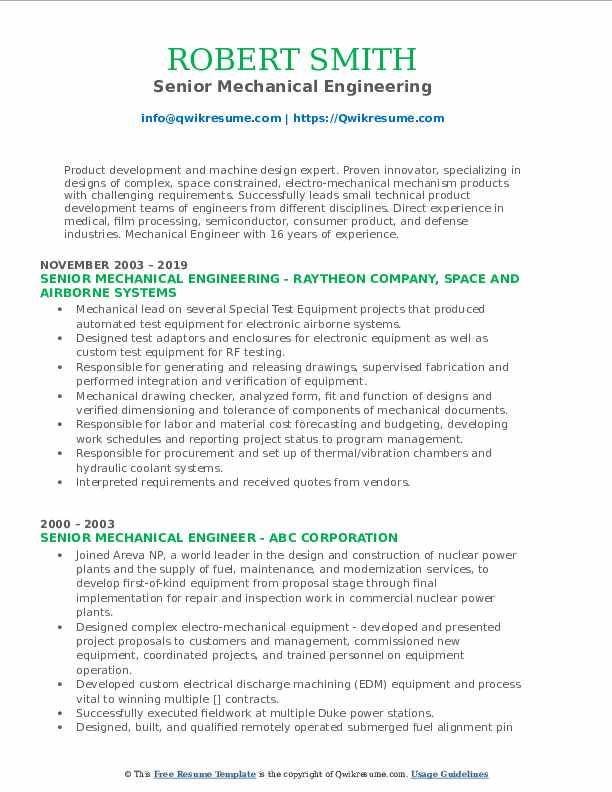 Senior Mechanical Engineering Resume Sample
