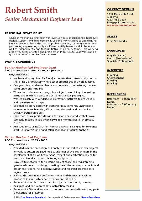 Senior Mechanical Engineer Lead Resume Template