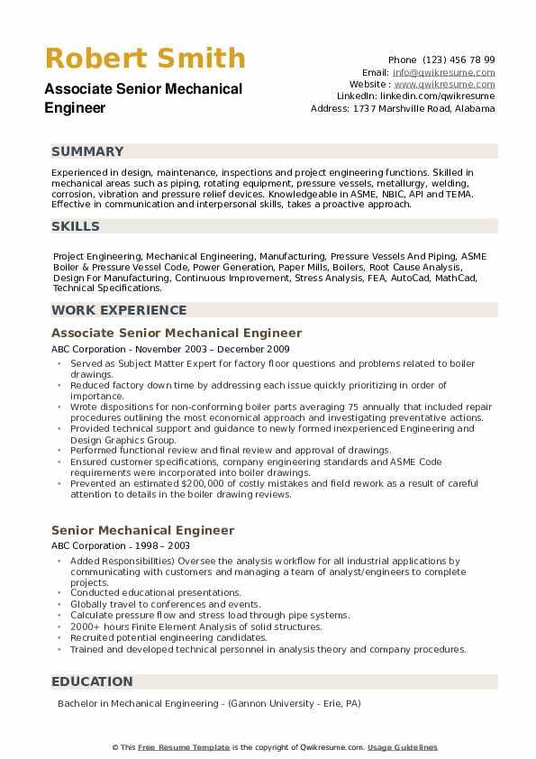Associate Senior Mechanical Engineer Resume Format