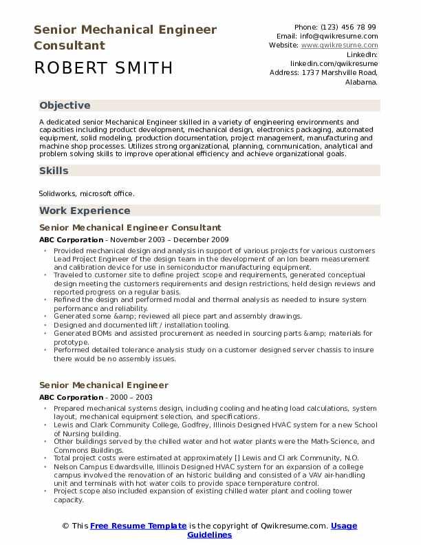 Senior Mechanical Engineer Consultant Resume Template