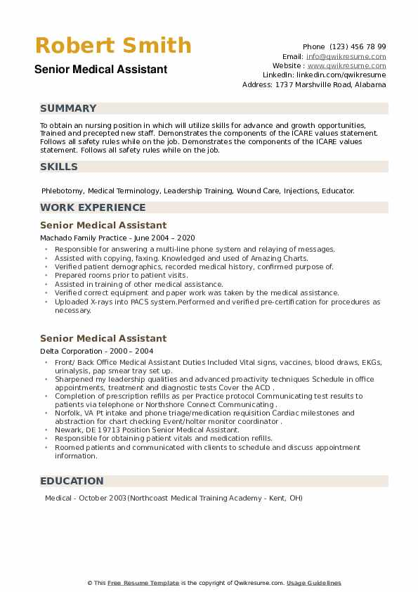 Senior Medical Assistant Resume example