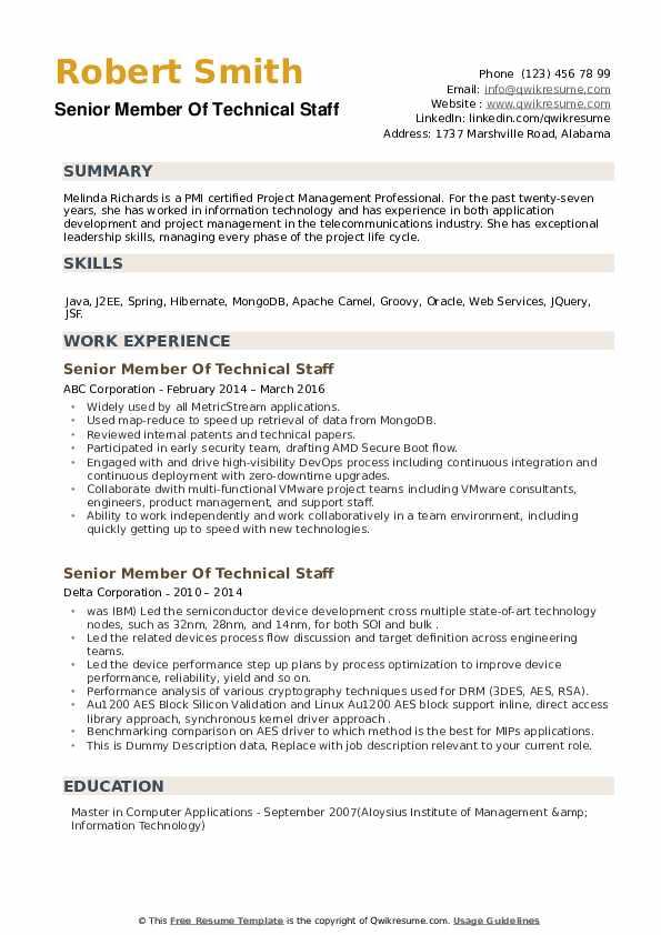 Senior Member Of Technical Staff Resume example