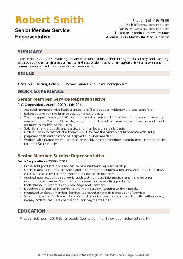 Senior Member Service Representative Resume example