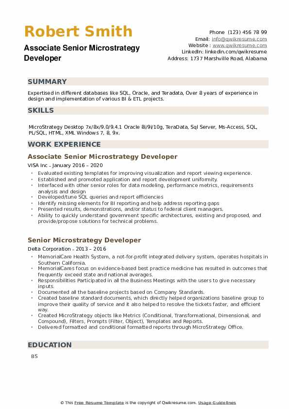 Senior Microstrategy Developer Resume example