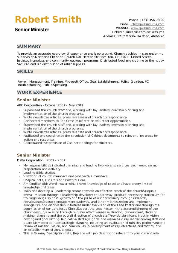Senior Minister Resume example