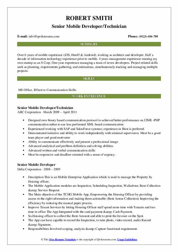 Senior Mobile Developer Resume example