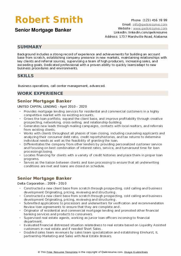 Senior Mortgage Banker Resume example