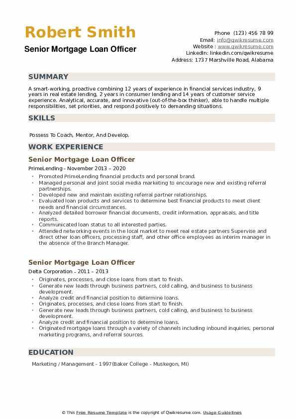 Senior Mortgage Loan Officer Resume example