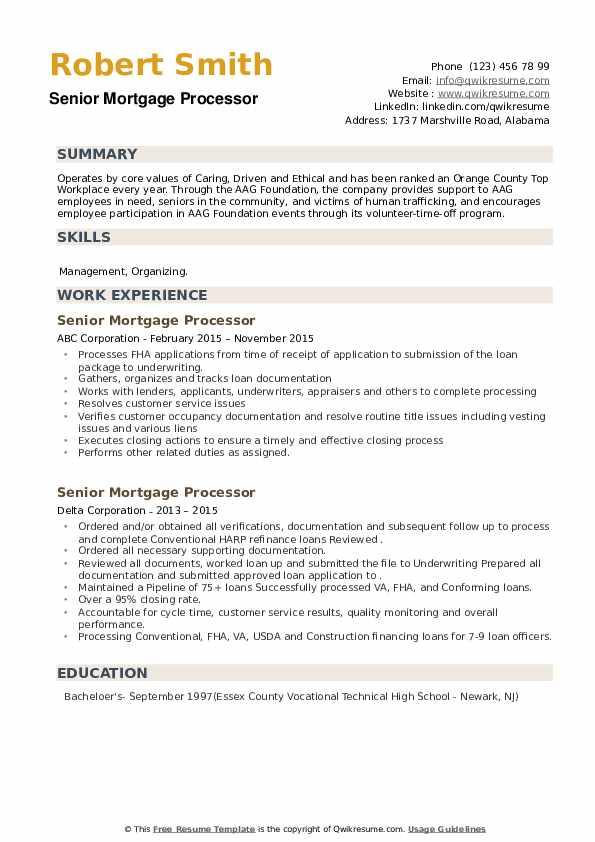Senior Mortgage Processor Resume example
