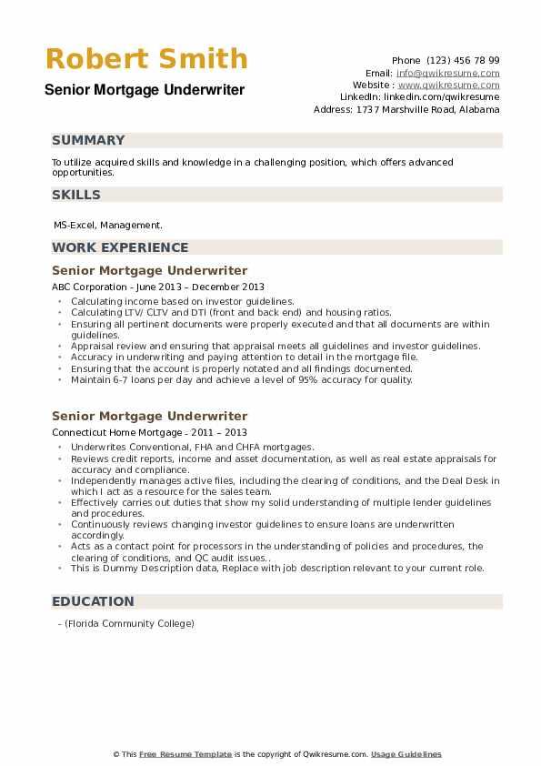 Senior Mortgage Underwriter Resume example