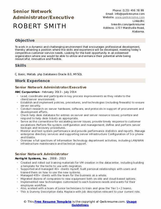 Senior network administrator resume texas college entrance essay topics