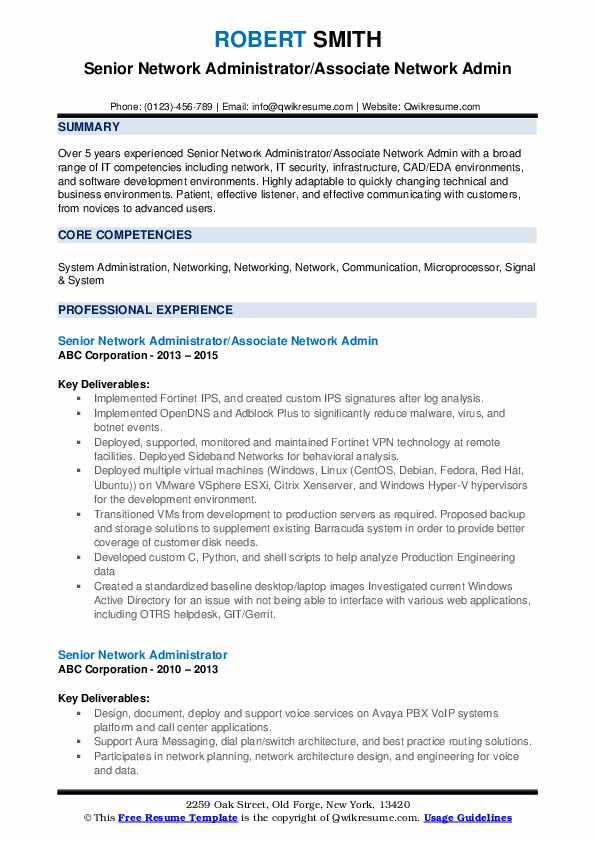 Senior network administrator resume 10th essay federalist