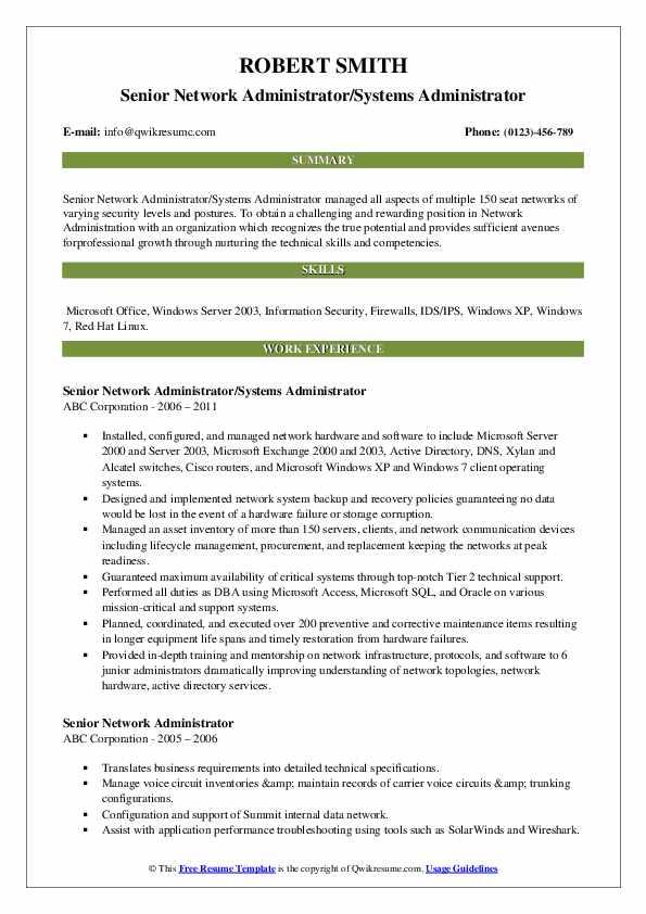 Senior Network Administrator Resume Samples Qwikresume