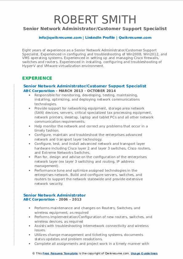 senior network administrator resume samples