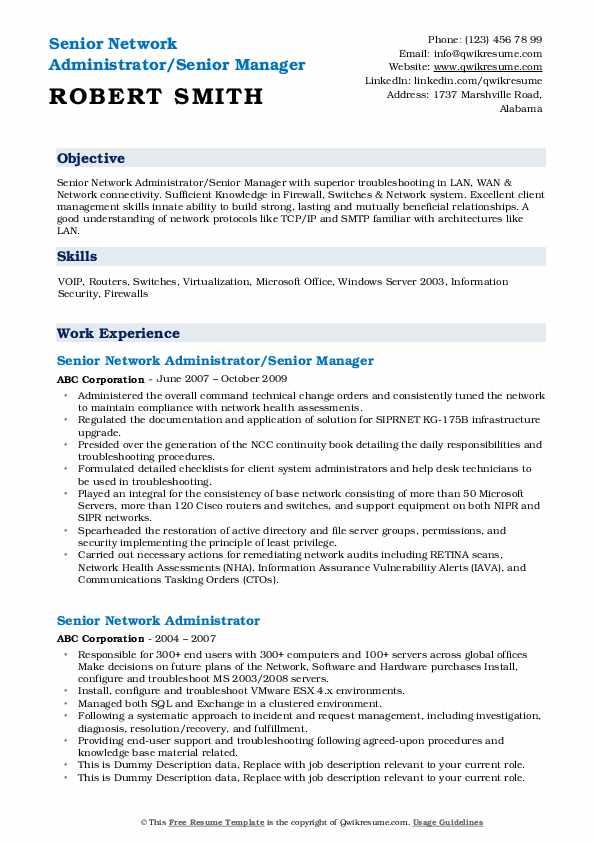 Senior network administrator resume warehousing objective for resume