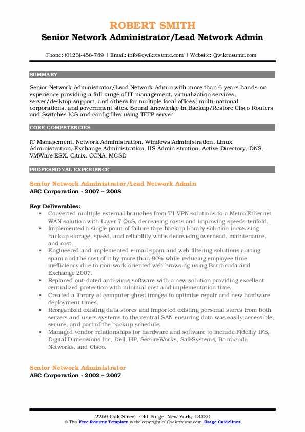 senior network administrator resume