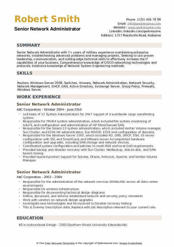 Senior Network Administrator Resume example
