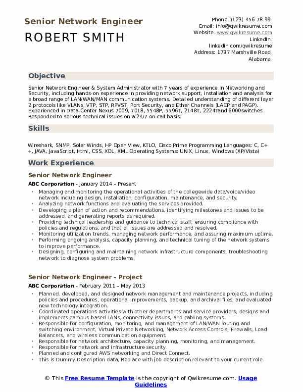 Senior Network Engineer  Resume Model