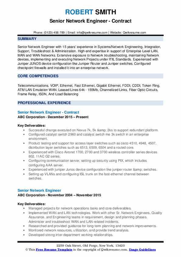 Senior Network Engineer - Contract Resume Example