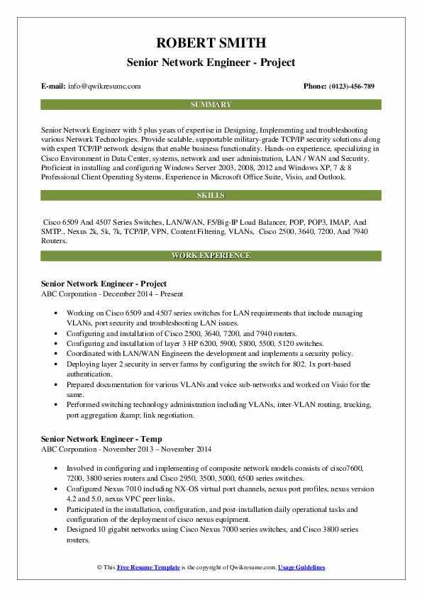 Senior Network Engineer - Project Resume Template