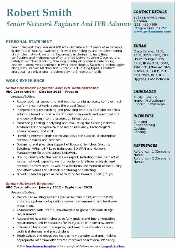 Senior Network Engineer And IVR Administrator Resume Example
