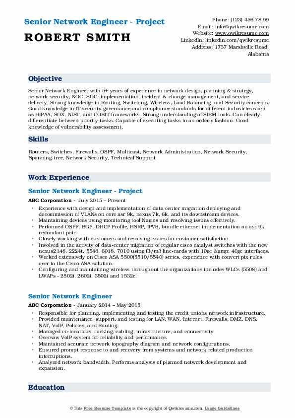 Senior Network Engineer - Project Resume Format