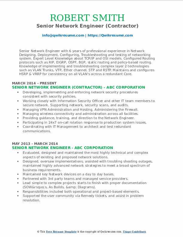 Senior Network Engineer (Contractor) Resume Template