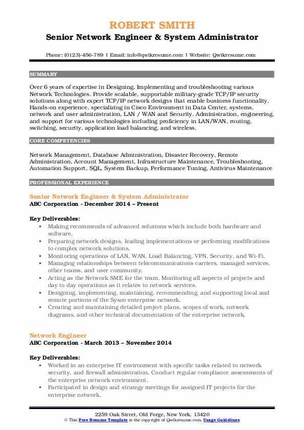 Senior Network Engineer & System Administrator Resume Model