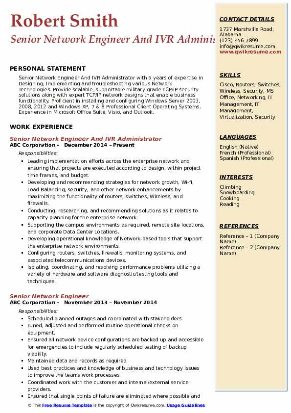 Senior Network Engineer And IVR Administrator Resume Template