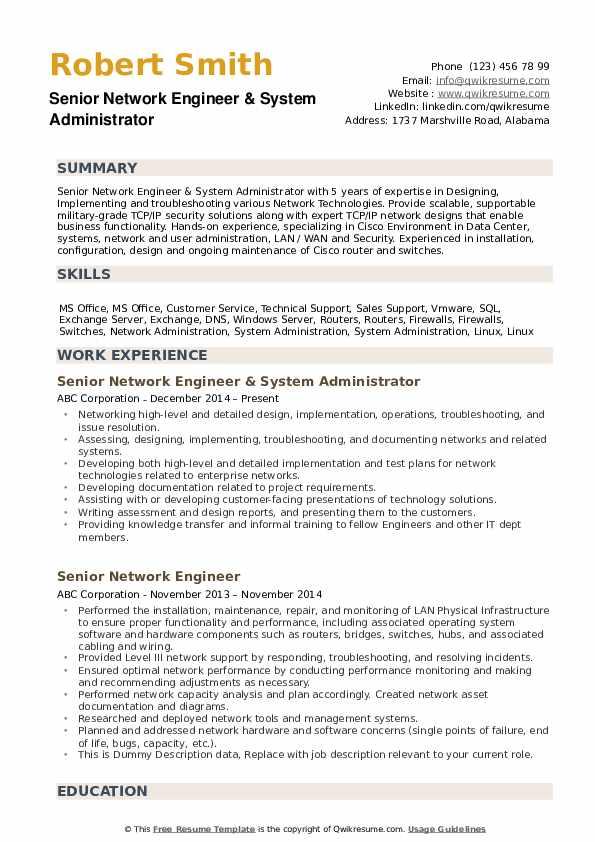 Senior Network Engineer Resume example