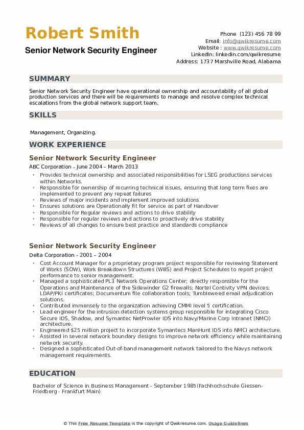 Senior Network Security Engineer Resume example