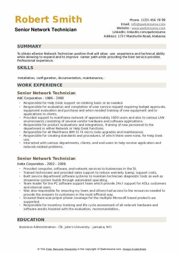 Senior Network Technician Resume example