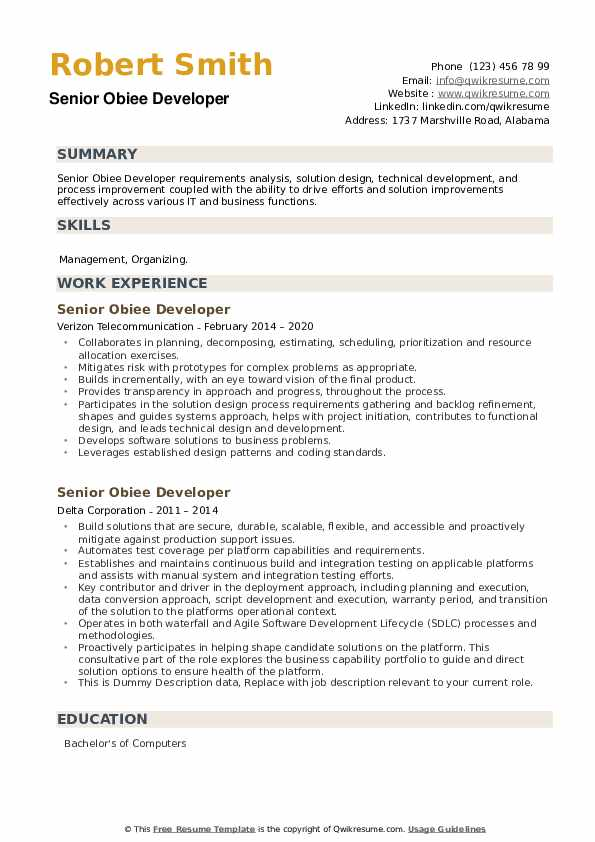Senior Obiee Developer Resume Samples Qwikresume