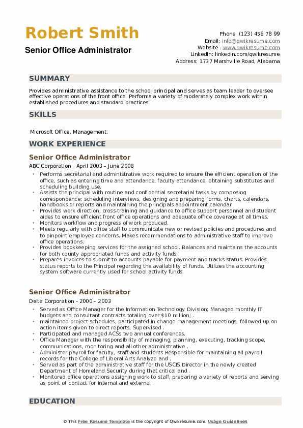 Senior Office Administrator Resume example