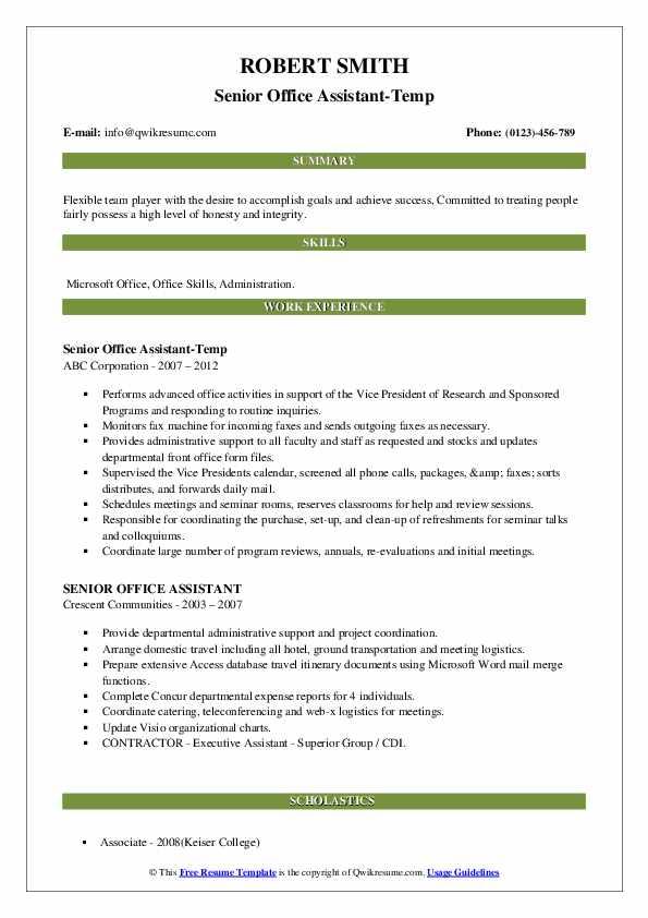Senior Office Assistant-Temp Resume Sample