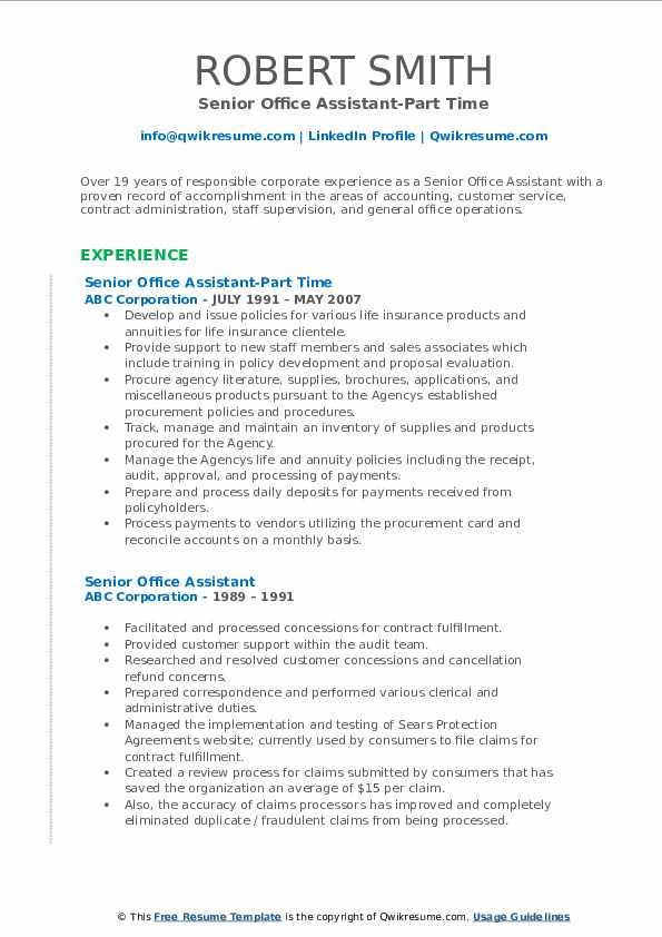 Senior Office Assistant-Part Time Resume Template