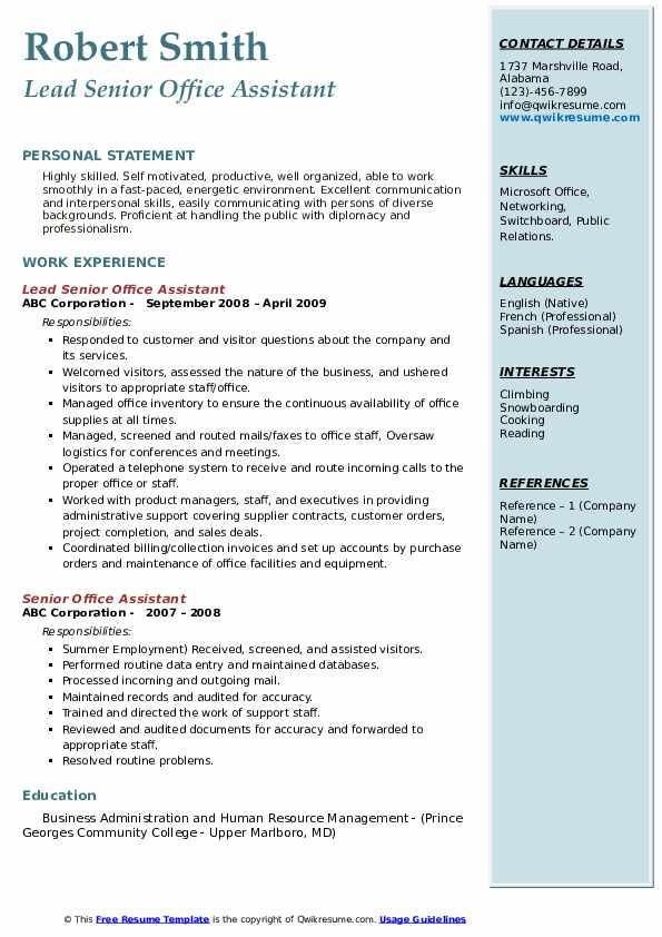 Lead Senior Office Assistant Resume Format