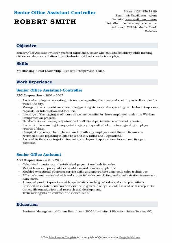 Senior Office Assistant-Controller Resume Model