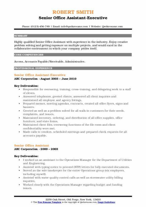 Senior Office Assistant-Executive Resume Model
