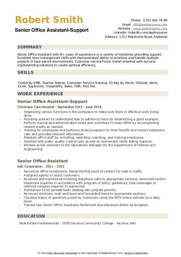 Senior Office Assistant-Support Resume Sample