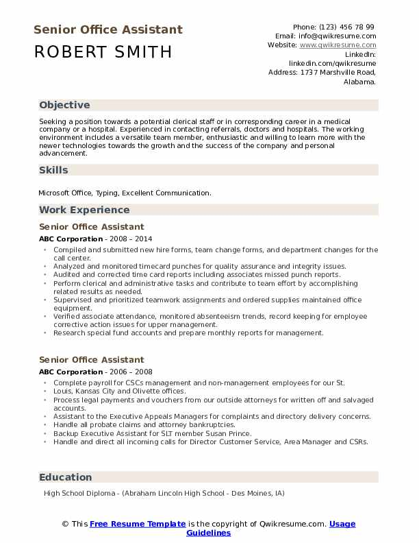 Senior Office Assistant Resume example
