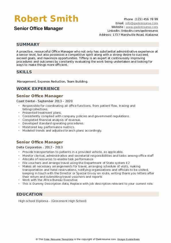 Senior Office Manager Resume example