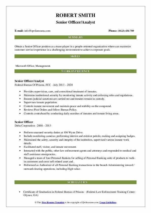 senior officer resume samples