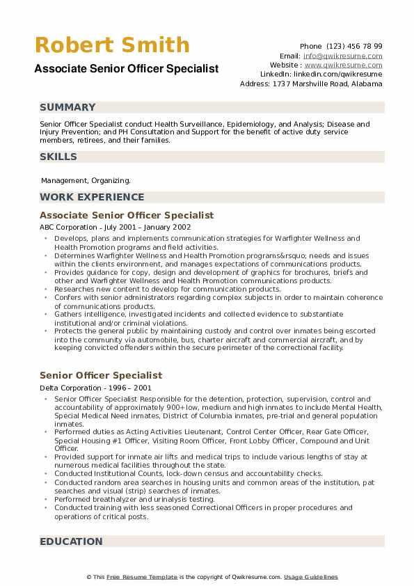 Senior Officer Specialist Resume example