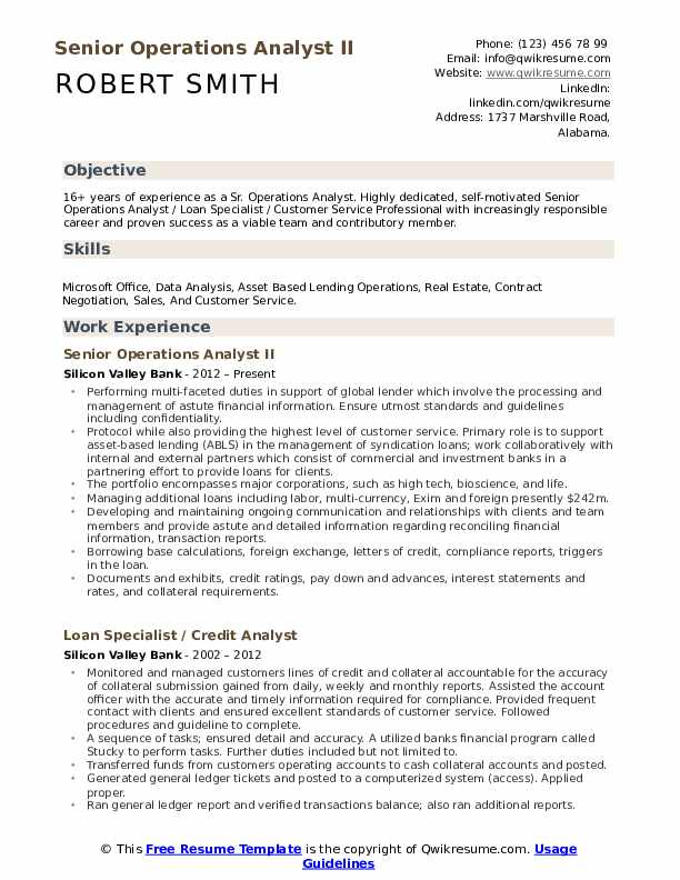 Senior Operations Analyst II Resume Example