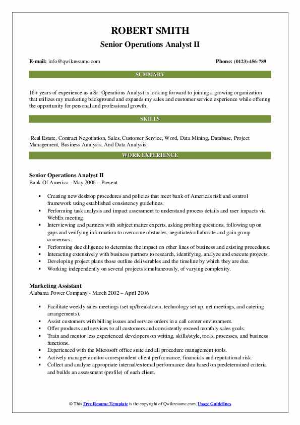 Senior Operations Analyst II Resume Model